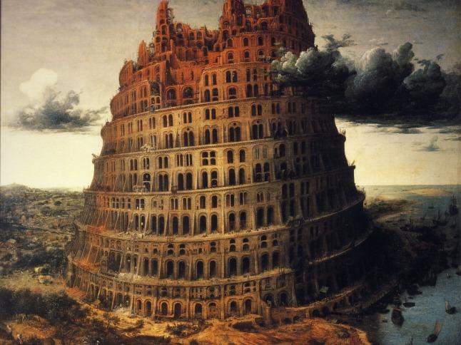 Рисунок, башня, вавилон, тучи, арки, река, корабли, 1400x1050.jpg